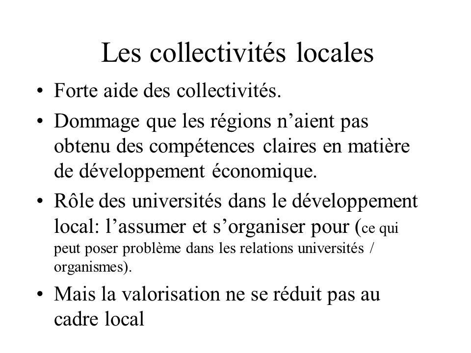 Les collectivités locales Forte aide des collectivités. Dommage que les régions naient pas obtenu des compétences claires en matière de développement