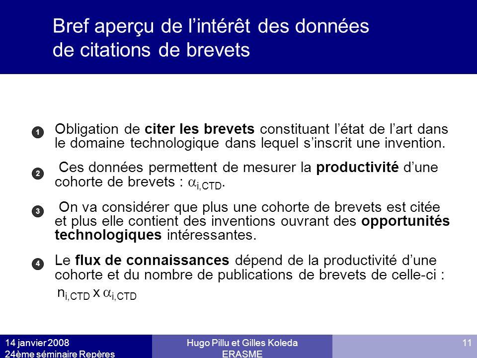 14 janvier 2008 24ème séminaire Repères Hugo Pillu et Gilles Koleda ERASME 11 Bref aperçu de lintérêt des données de citations de brevets Obligation d