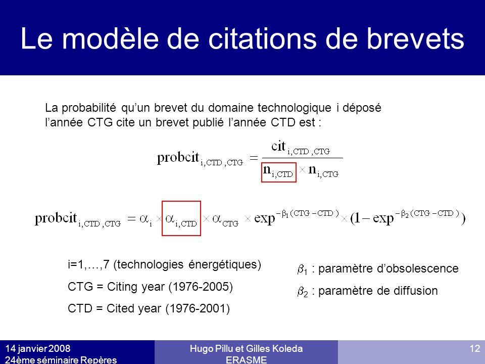 14 janvier 2008 24ème séminaire Repères Hugo Pillu et Gilles Koleda ERASME 12 Le modèle de citations de brevets i=1,…,7 (technologies énergétiques) CT
