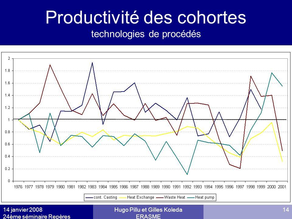 14 janvier 2008 24ème séminaire Repères Hugo Pillu et Gilles Koleda ERASME 14 Productivité des cohortes technologies de procédés