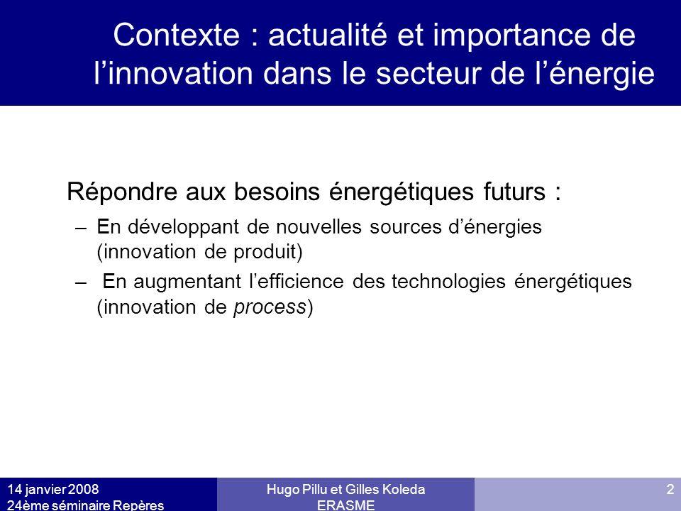 14 janvier 2008 24ème séminaire Repères Hugo Pillu et Gilles Koleda ERASME 2 Contexte : actualité et importance de linnovation dans le secteur de léne