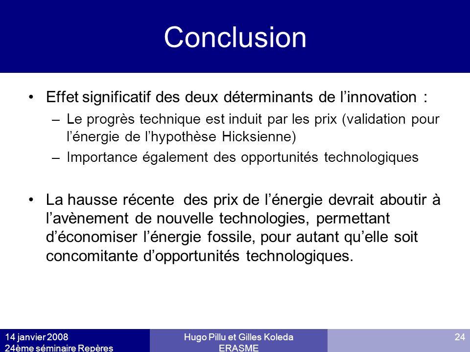 14 janvier 2008 24ème séminaire Repères Hugo Pillu et Gilles Koleda ERASME 24 Conclusion Effet significatif des deux déterminants de linnovation : –Le