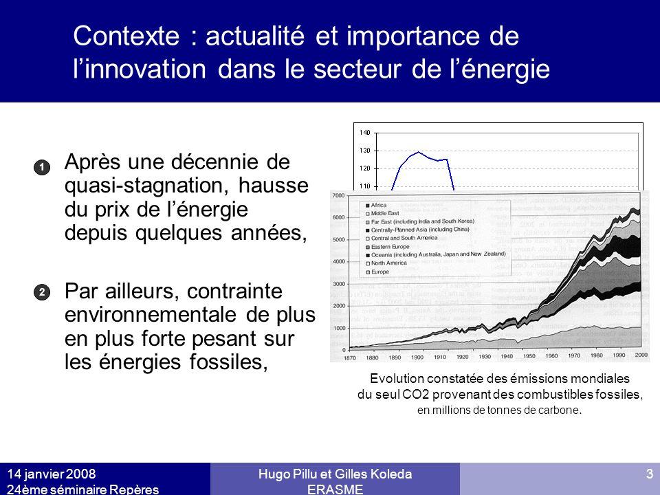 14 janvier 2008 24ème séminaire Repères Hugo Pillu et Gilles Koleda ERASME 3 Contexte : actualité et importance de linnovation dans le secteur de léne