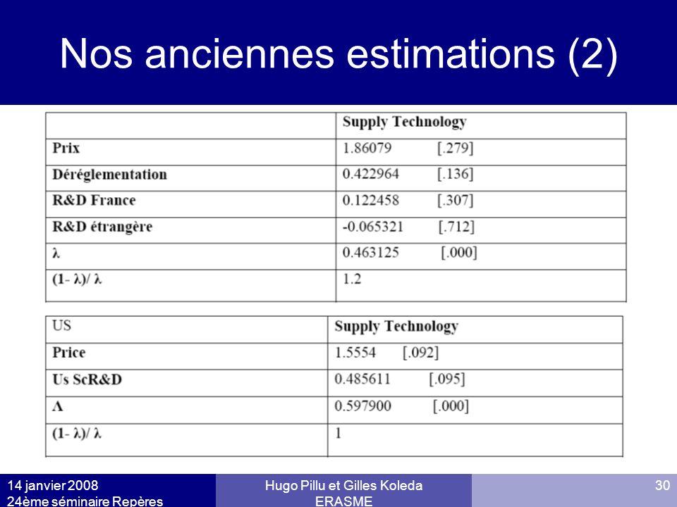 14 janvier 2008 24ème séminaire Repères Hugo Pillu et Gilles Koleda ERASME 30 Nos anciennes estimations (2)