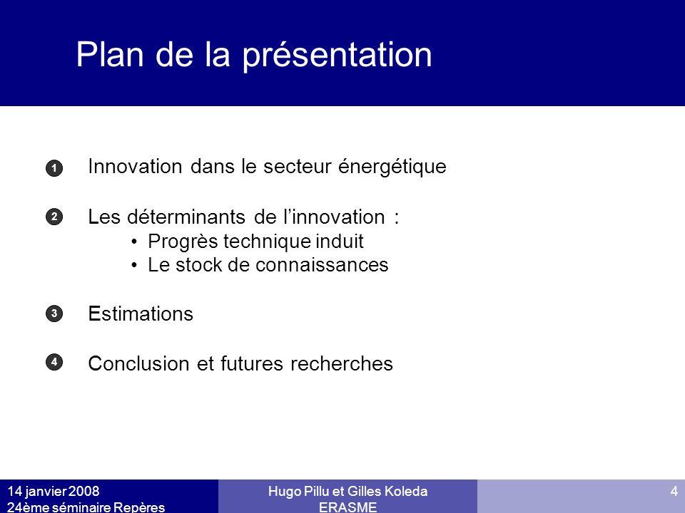 14 janvier 2008 24ème séminaire Repères Hugo Pillu et Gilles Koleda ERASME 4 Plan de la présentation Innovation dans le secteur énergétique Les déterm