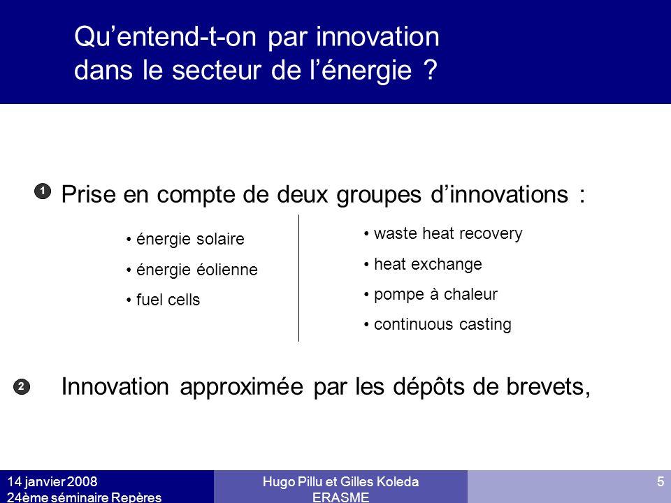 14 janvier 2008 24ème séminaire Repères Hugo Pillu et Gilles Koleda ERASME 5 Quentend-t-on par innovation dans le secteur de lénergie ? Prise en compt