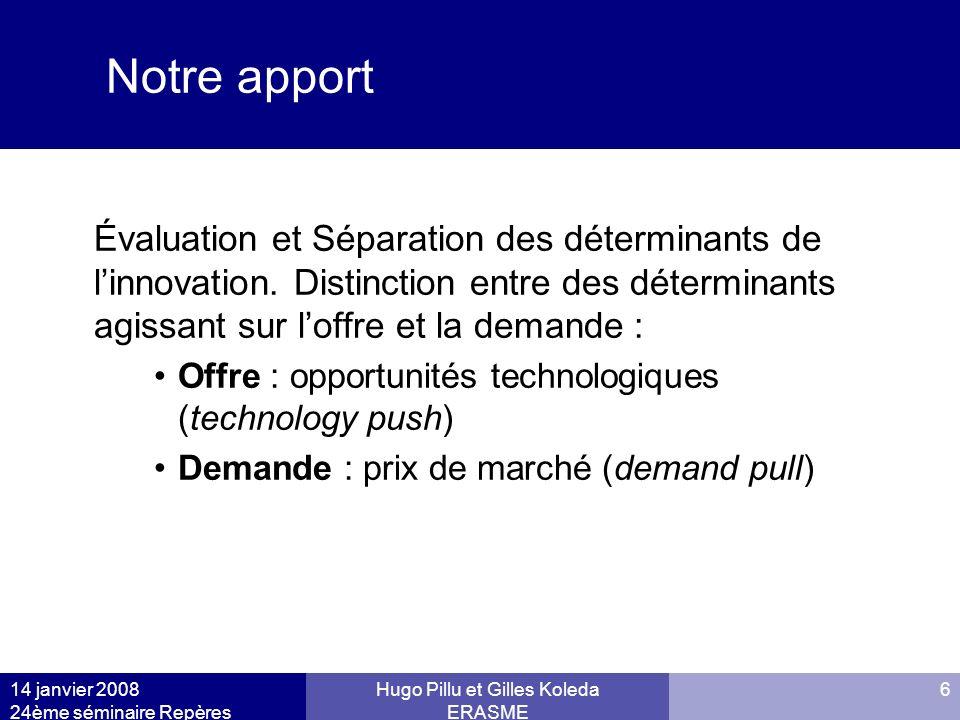 14 janvier 2008 24ème séminaire Repères Hugo Pillu et Gilles Koleda ERASME 6 Notre apport Évaluation et Séparation des déterminants de linnovation. Di