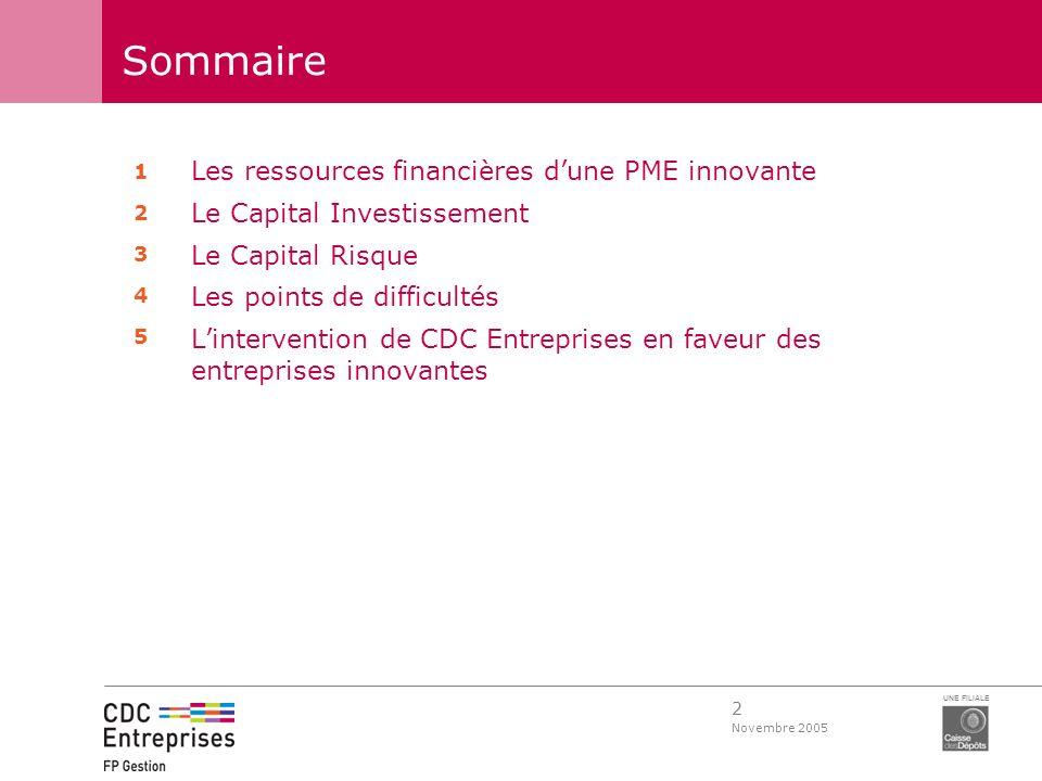 2 Novembre 2005 UNE FILIALE Sommaire Les ressources financières dune PME innovante Le Capital Investissement Le Capital Risque Les points de difficult