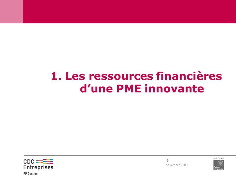 3 Novembre 2005 UNE FILIALE 1. Les ressources financières dune PME innovante