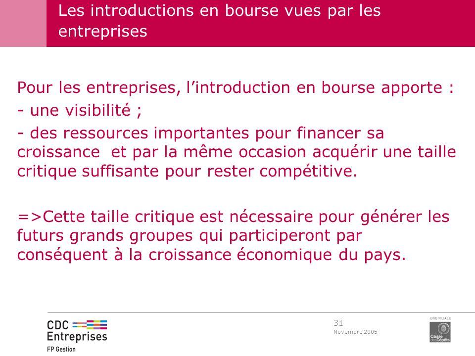 31 Novembre 2005 UNE FILIALE Pour les entreprises, lintroduction en bourse apporte : - une visibilité ; - des ressources importantes pour financer sa
