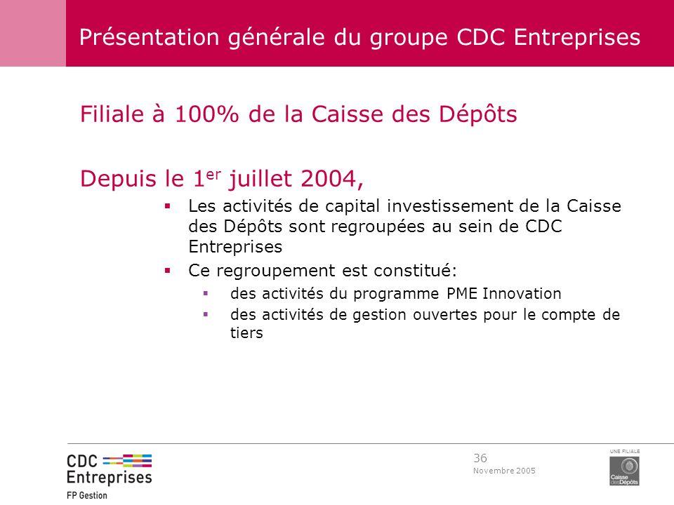 36 Novembre 2005 UNE FILIALE Présentation générale du groupe CDC Entreprises Filiale à 100% de la Caisse des Dépôts Depuis le 1 er juillet 2004, Les a