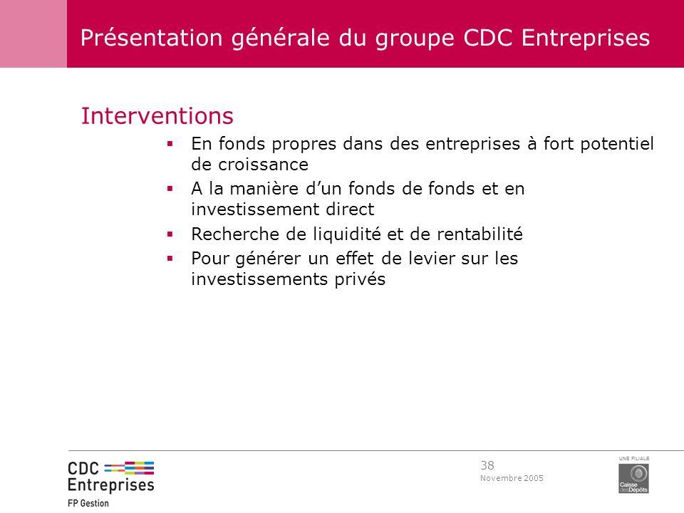 38 Novembre 2005 UNE FILIALE Présentation générale du groupe CDC Entreprises Interventions En fonds propres dans des entreprises à fort potentiel de c