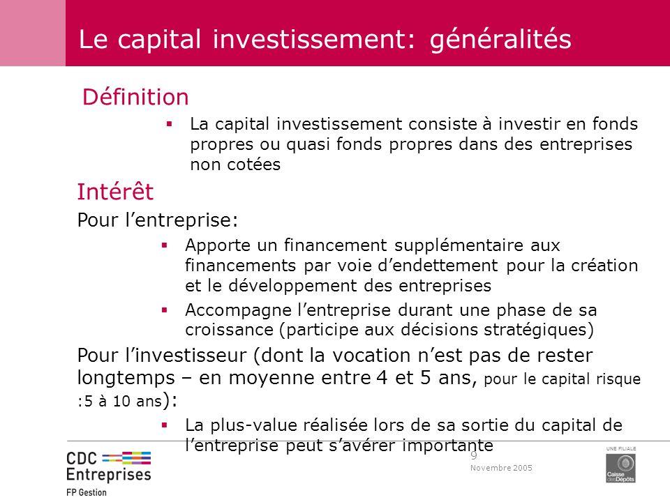 9 Novembre 2005 UNE FILIALE Le capital investissement: généralités Définition La capital investissement consiste à investir en fonds propres ou quasi