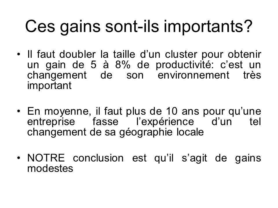 Ces gains sont-ils importants? Il faut doubler la taille dun cluster pour obtenir un gain de 5 à 8% de productivité: cest un changement de son environ