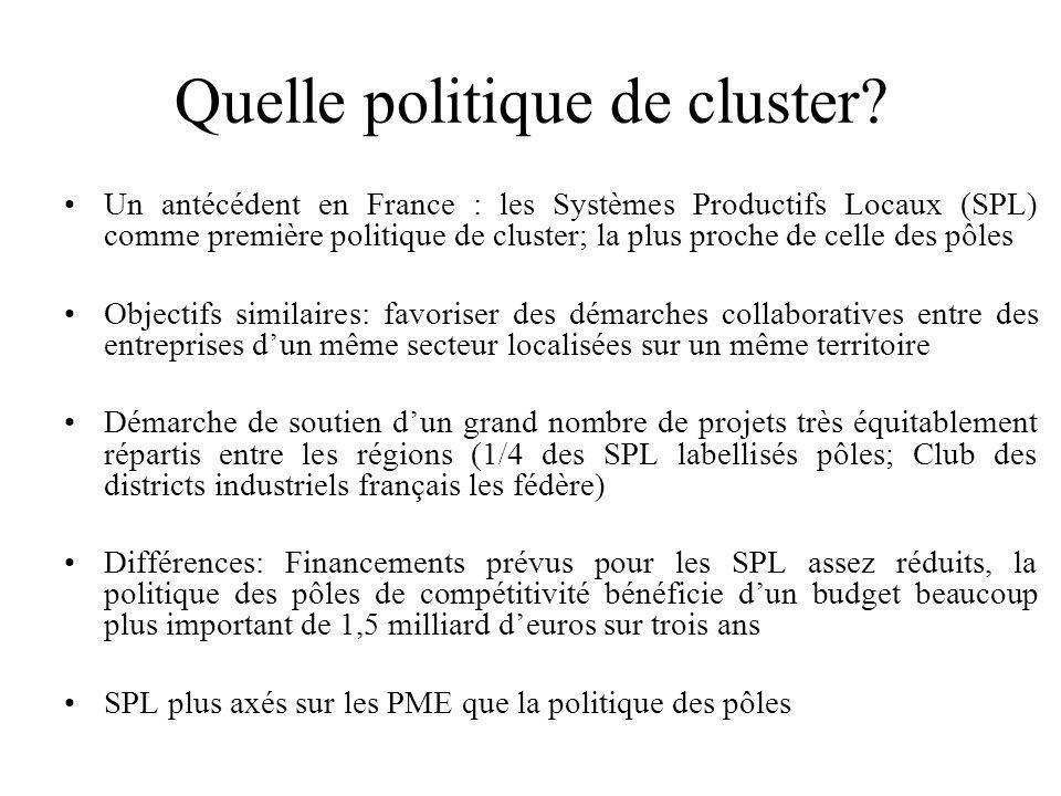 Quelle politique de cluster? Un antécédent en France : les Systèmes Productifs Locaux (SPL) comme première politique de cluster; la plus proche de cel