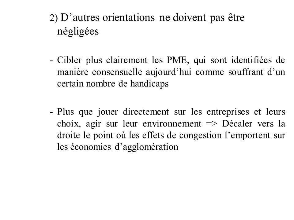 2) Dautres orientations ne doivent pas être négligées -Cibler plus clairement les PME, qui sont identifiées de manière consensuelle aujourdhui comme s
