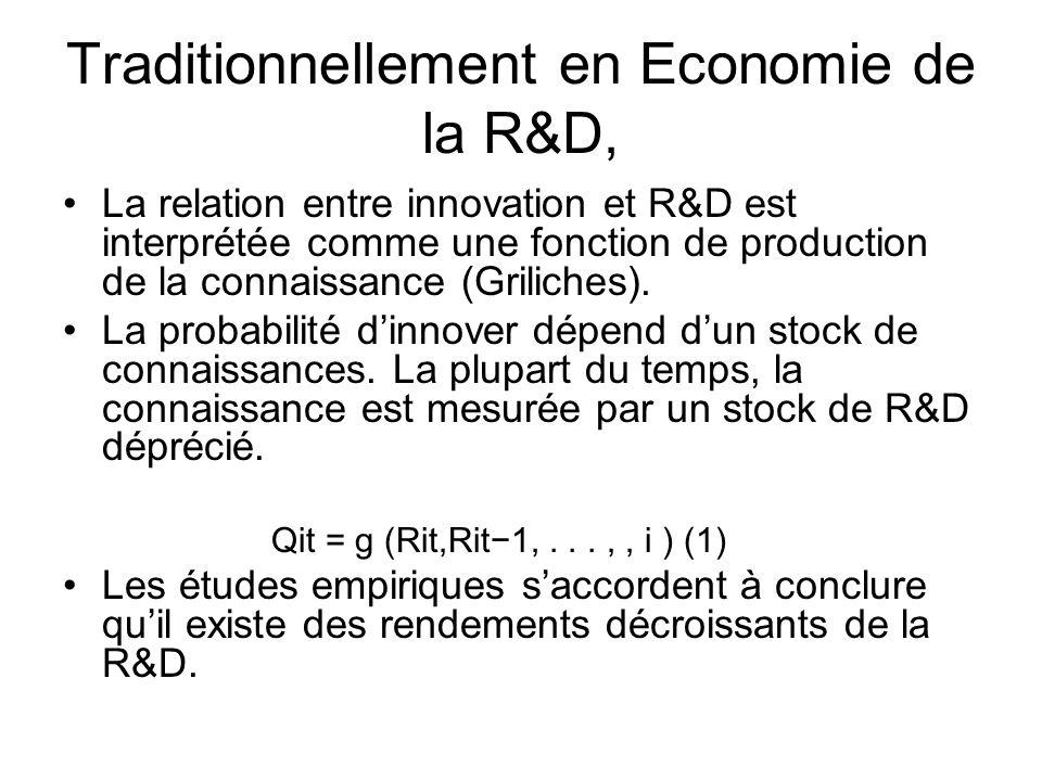 Traditionnellement en Economie de la R&D, La relation entre innovation et R&D est interprétée comme une fonction de production de la connaissance (Gri