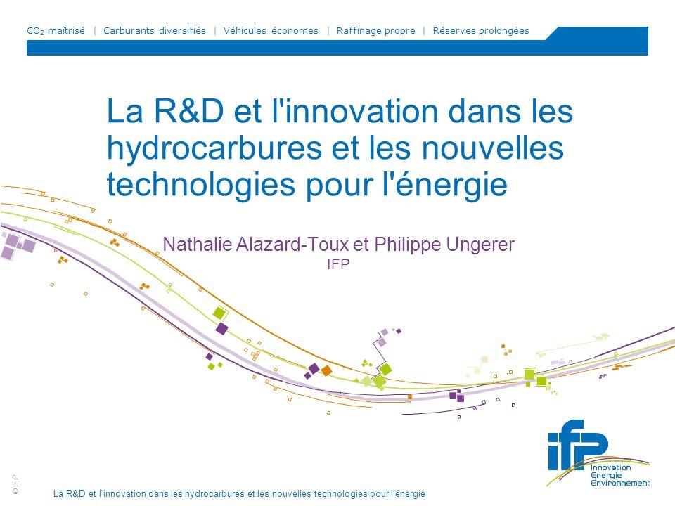 CO 2 maîtrisé | Carburants diversifiés | Véhicules économes | Raffinage propre | Réserves prolongées © IFP La R&D et l'innovation dans les hydrocarbur