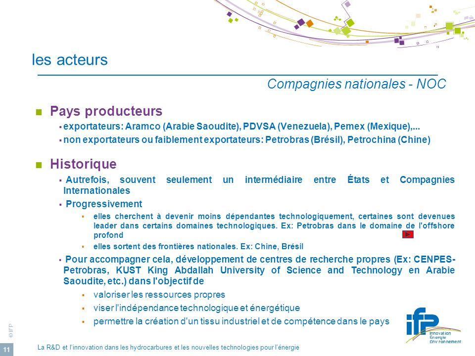 © IFP La R&D et l'innovation dans les hydrocarbures et les nouvelles technologies pour l'énergie 11 les acteurs Pays producteurs exportateurs: Aramco