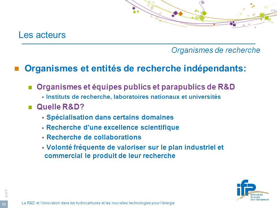 © IFP La R&D et l'innovation dans les hydrocarbures et les nouvelles technologies pour l'énergie 13 Les acteurs Organismes et entités de recherche ind