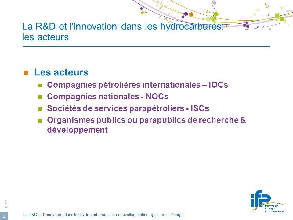 © IFP La R&D et l innovation dans les hydrocarbures et les nouvelles technologies pour l énergie 3 Les acteurs Groupes pétroliers intégrés à dimension international.
