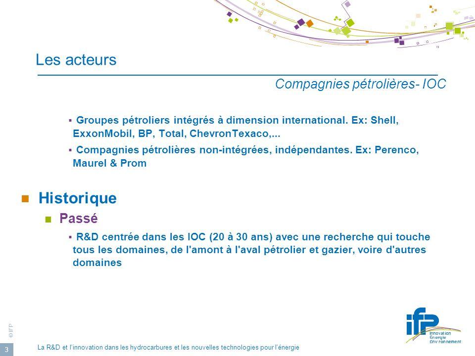 © IFP La R&D et l innovation dans les hydrocarbures et les nouvelles technologies pour l énergie 14 Évolution des dépenses de R&D IOC/ISC Comparaison de l évolution de l effort de R&D de 5 majors pétroliers et de 3 principaux groupes parapétroliers: