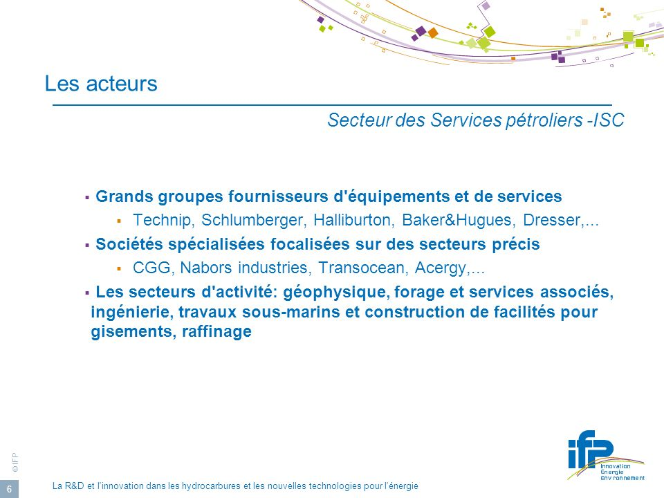 © IFP La R&D et l innovation dans les hydrocarbures et les nouvelles technologies pour l énergie 27 Fonctionnement de la structure matricielle effectif ing + tech Explo- produc.