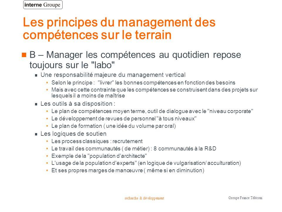 recherche & développement Groupe France Télécom Les principes du management des compétences sur le terrain B – Manager les compétences au quotidien re