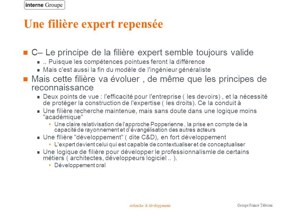 recherche & développement Groupe France Télécom Une filière expert repensée C– Le principe de la filière expert semble toujours valide.. Puisque les c