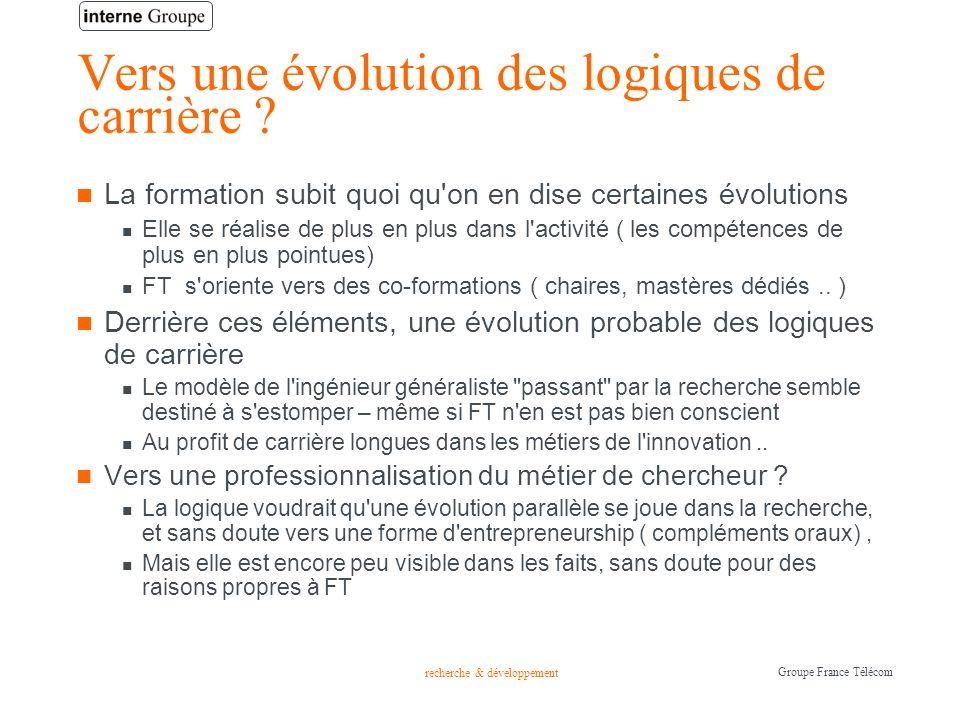 recherche & développement Groupe France Télécom Vers une évolution des logiques de carrière ? La formation subit quoi qu'on en dise certaines évolutio