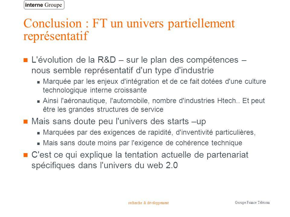recherche & développement Groupe France Télécom Conclusion : FT un univers partiellement représentatif L'évolution de la R&D – sur le plan des compéte