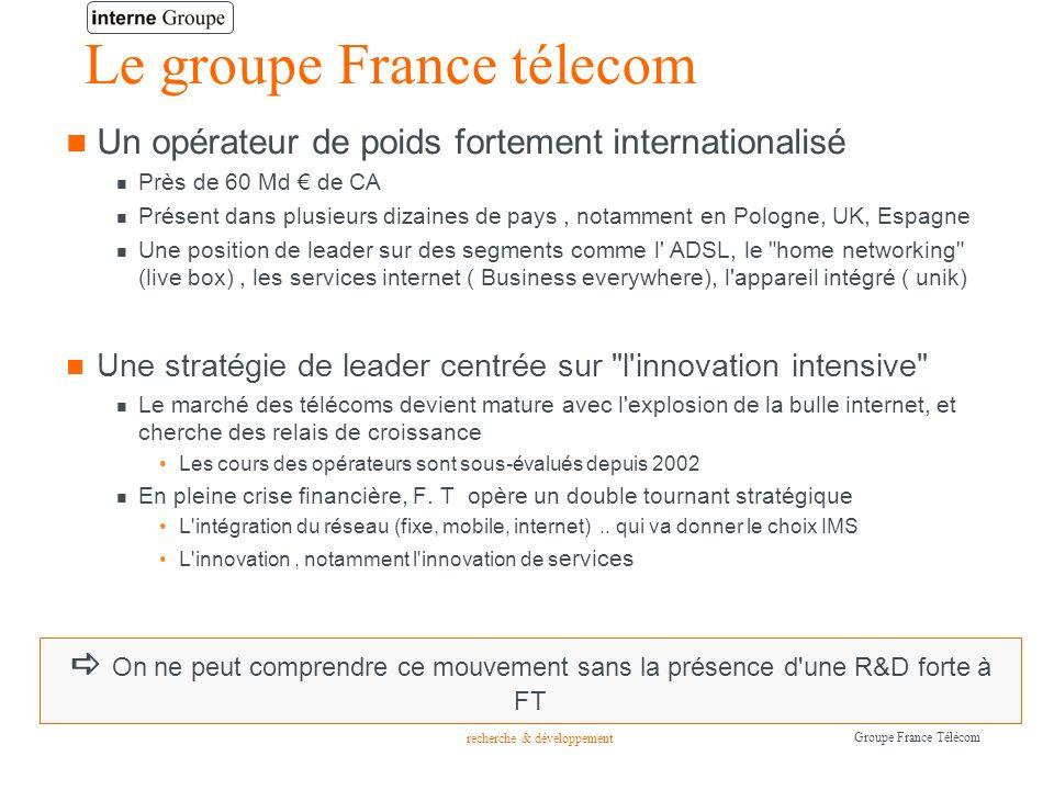 recherche & développement Groupe France Télécom Le groupe France télecom Un opérateur de poids fortement internationalisé Près de 60 Md de CA Présent