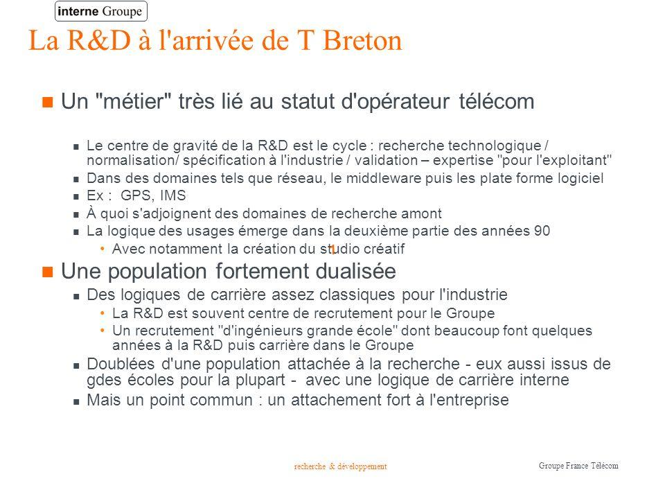 recherche & développement Groupe France Télécom Une organisation repensée dans une logique client-fournisseur Le CNET est restructuré lors de la privatisation avec la perte de pans entiers de recherche (micro-électronique) Mais sans modification de l esprit recherche..