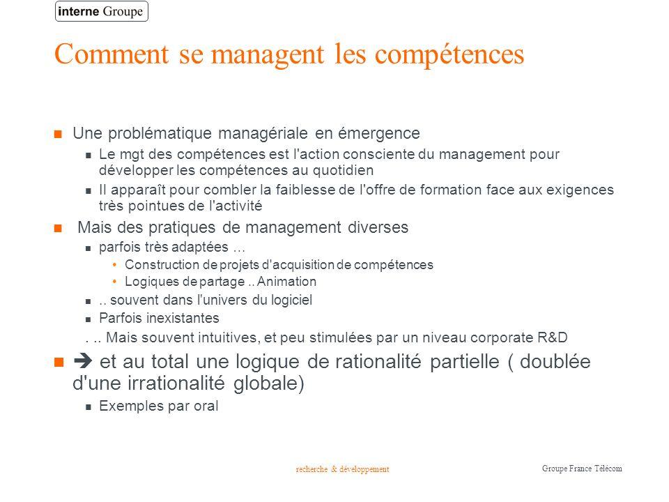 recherche & développement Groupe France Télécom Comment se managent les compétences Une problématique managériale en émergence Le mgt des compétences