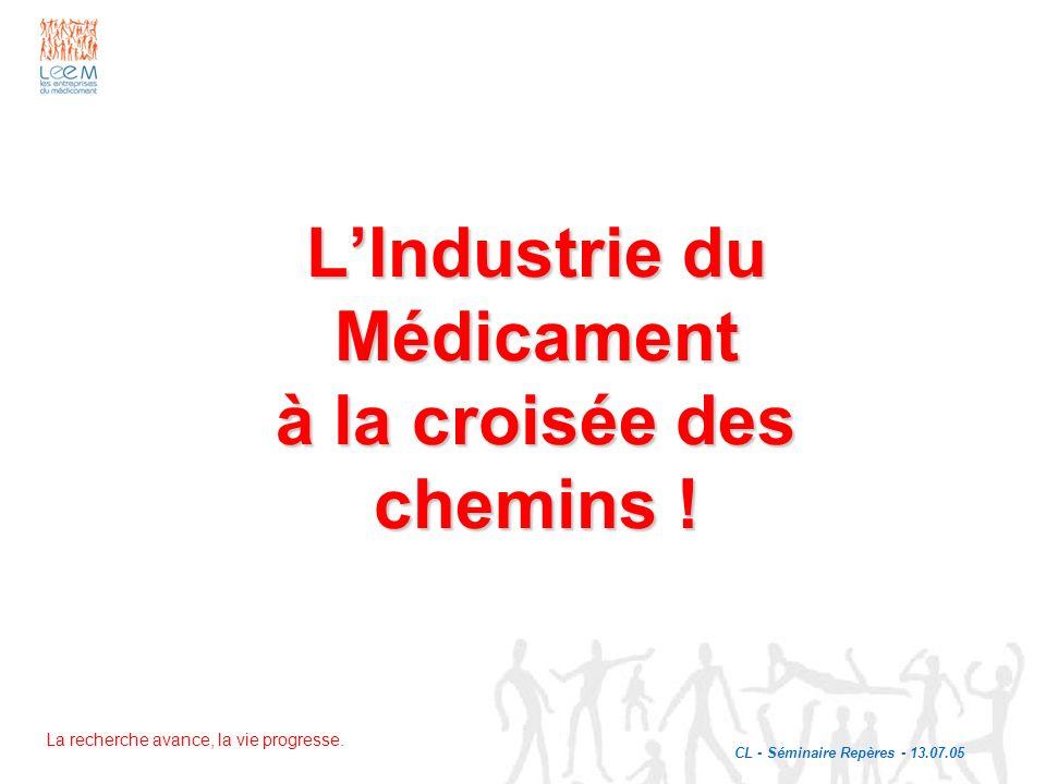 La recherche avance, la vie progresse. LIndustrie du Médicament à la croisée des chemins ! CL - Séminaire Repères - 13.07.05