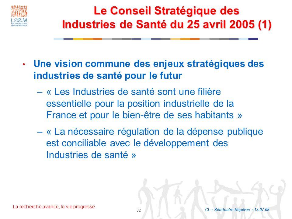 La recherche avance, la vie progresse. CL - Séminaire Repères - 13.07.05 32 Le Conseil Stratégique des Industries de Santé du 25 avril 2005 (1) Une vi