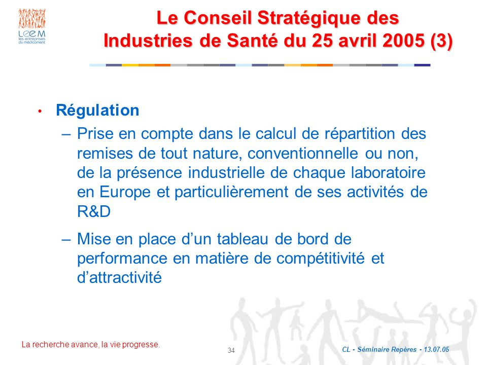 La recherche avance, la vie progresse. CL - Séminaire Repères - 13.07.05 34 Le Conseil Stratégique des Industries de Santé du 25 avril 2005 (3) Régula