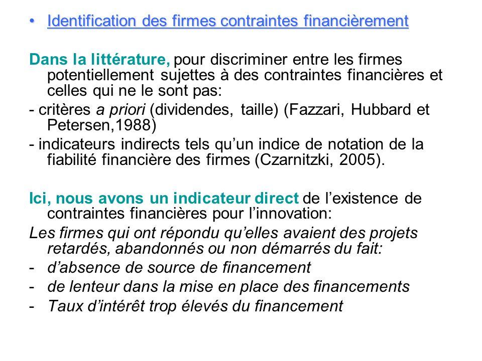 Identification des firmes contraintes financièrementIdentification des firmes contraintes financièrement Dans la littérature, pour discriminer entre l