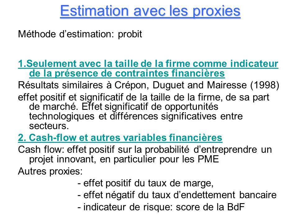Estimation avec les proxies Méthode destimation: probit 1.Seulement avec la taille de la firme comme indicateur de la présence de contraintes financiè