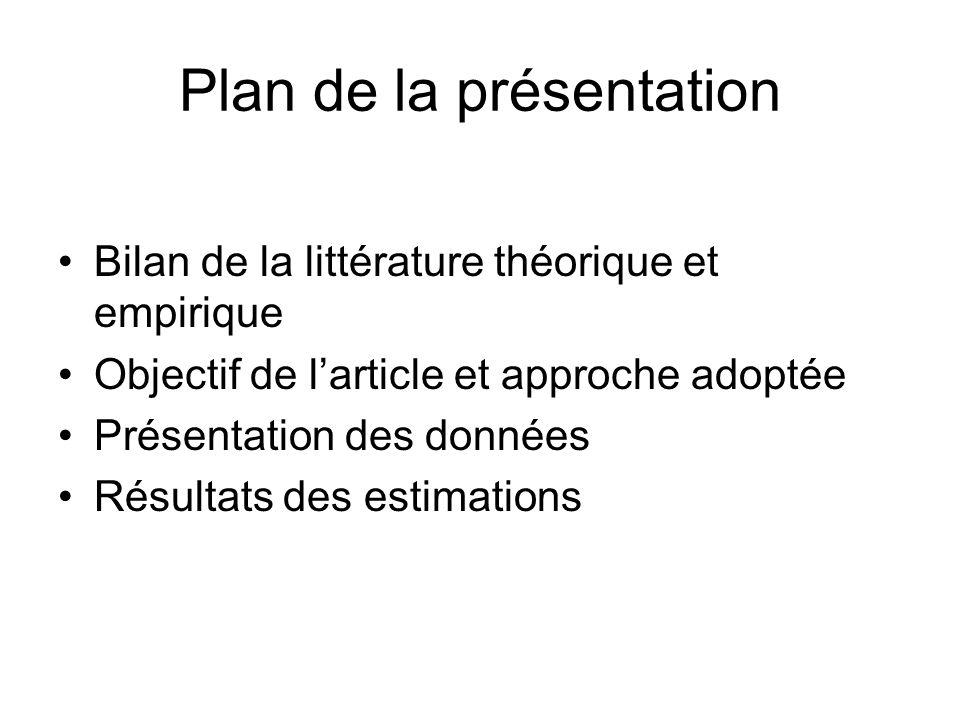 Plan de la présentation Bilan de la littérature théorique et empirique Objectif de larticle et approche adoptée Présentation des données Résultats des