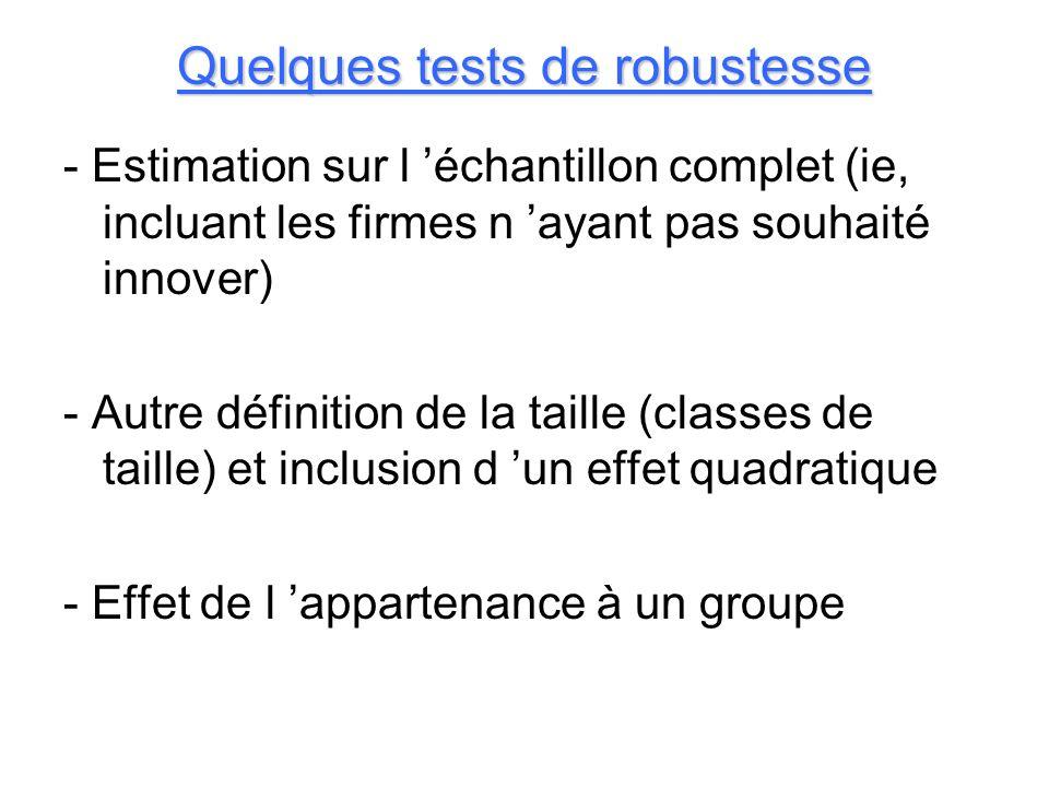 Quelques tests de robustesse - Estimation sur l échantillon complet (ie, incluant les firmes n ayant pas souhaité innover) - Autre définition de la ta