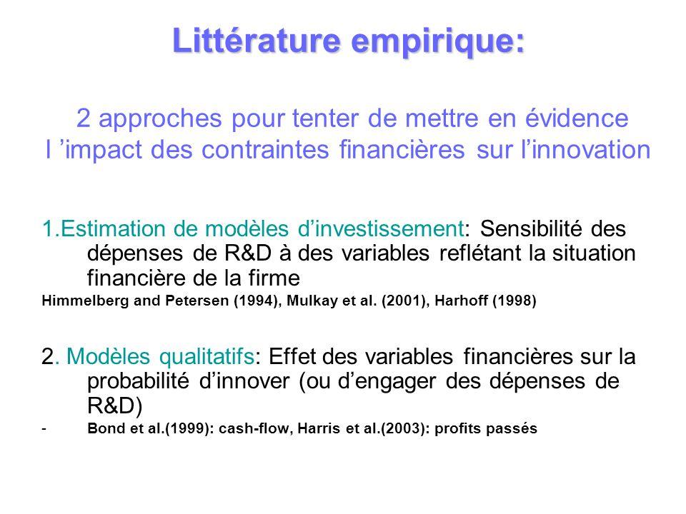 Littérature empirique: Littérature empirique: 2 approches pour tenter de mettre en évidence l impact des contraintes financières sur linnovation 1.Est