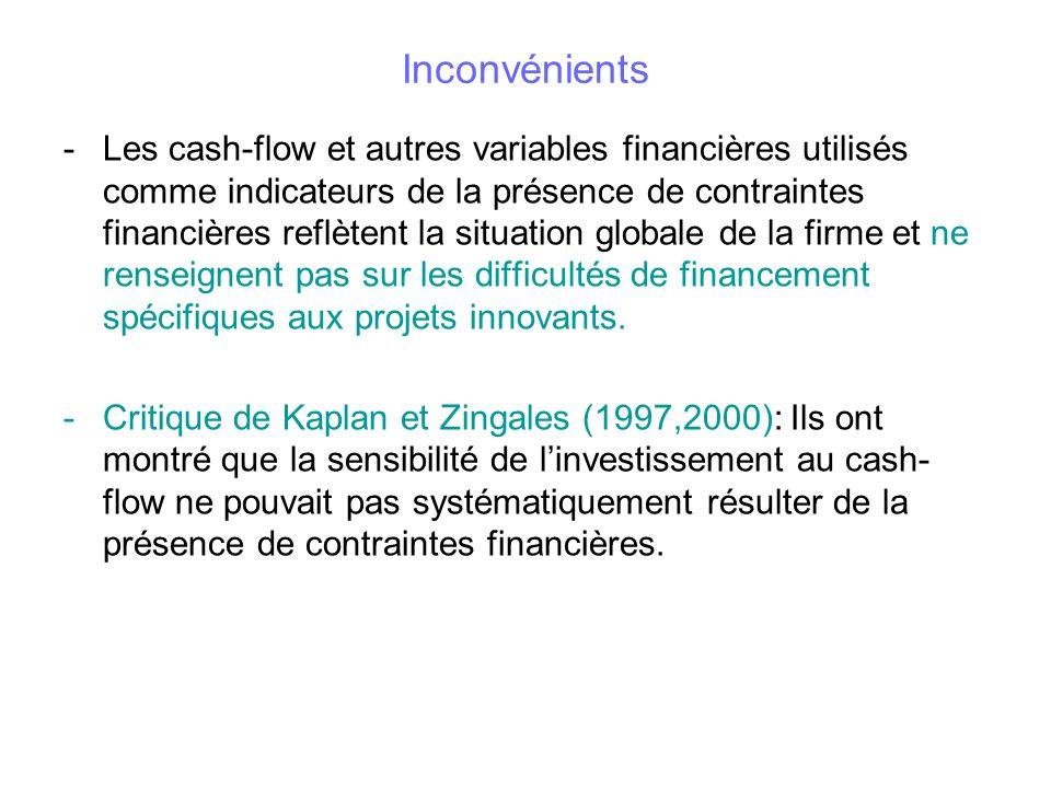 Inconvénients -Les cash-flow et autres variables financières utilisés comme indicateurs de la présence de contraintes financières reflètent la situati