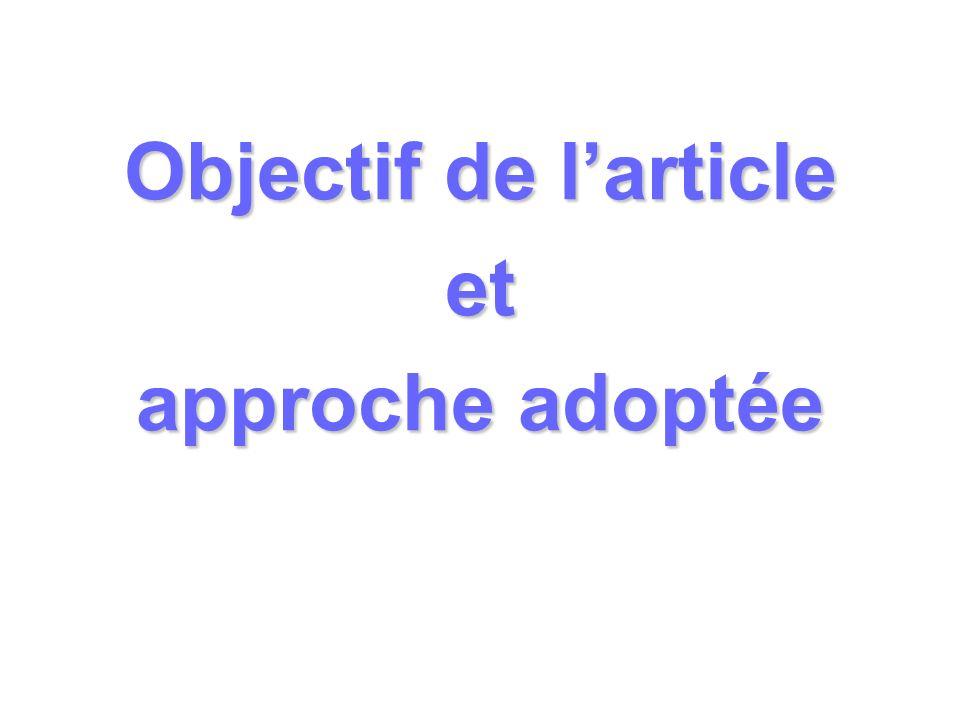 Objectif de larticle et approche adoptée