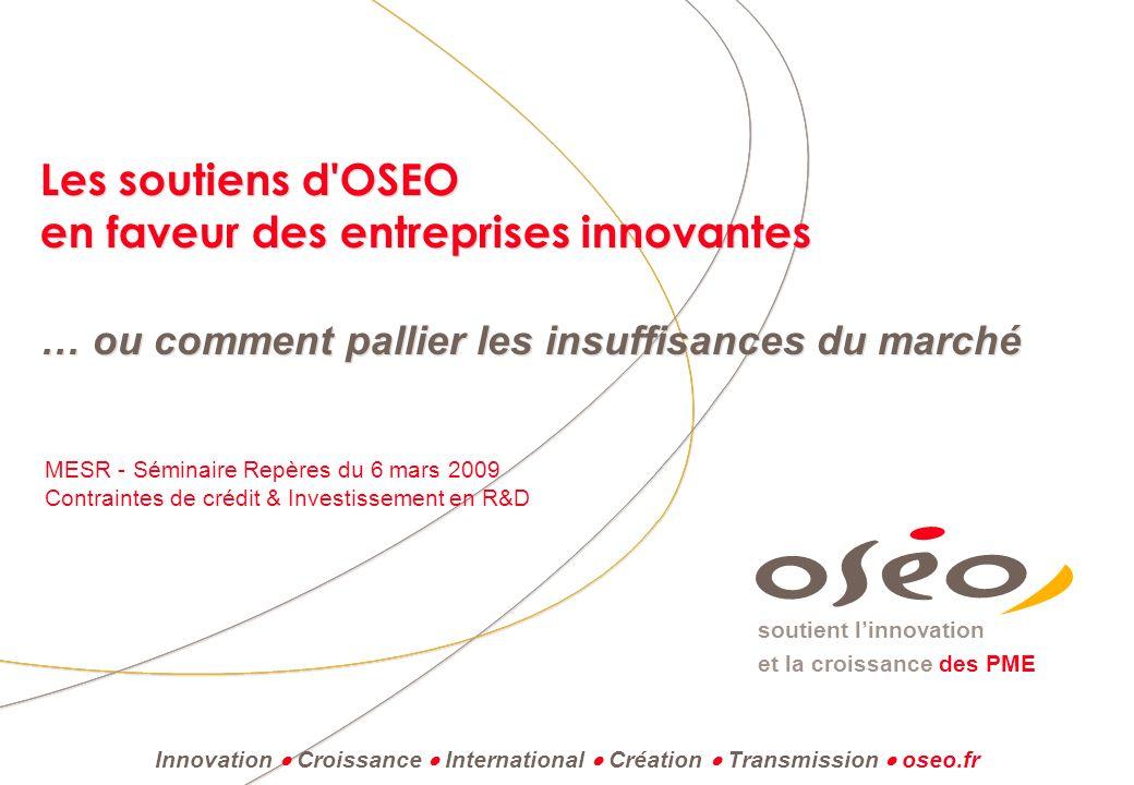 soutient linnovation et la croissance des PME Les soutiens d'OSEO en faveur des entreprises innovantes … ou comment pallier les insuffisances du march
