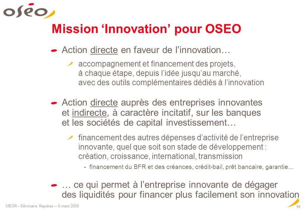 MESR - Séminaire Repères – 6 mars 2009 10 Mission Innovation pour OSEO Action directe en faveur de linnovation… accompagnement et financement des proj
