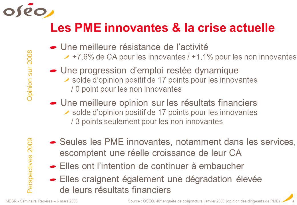 MESR - Séminaire Repères – 6 mars 2009 6 Les PME innovantes & la crise actuelle Source : OSEO, 48 e enquête de conjoncture, janvier 2009 (opinion des