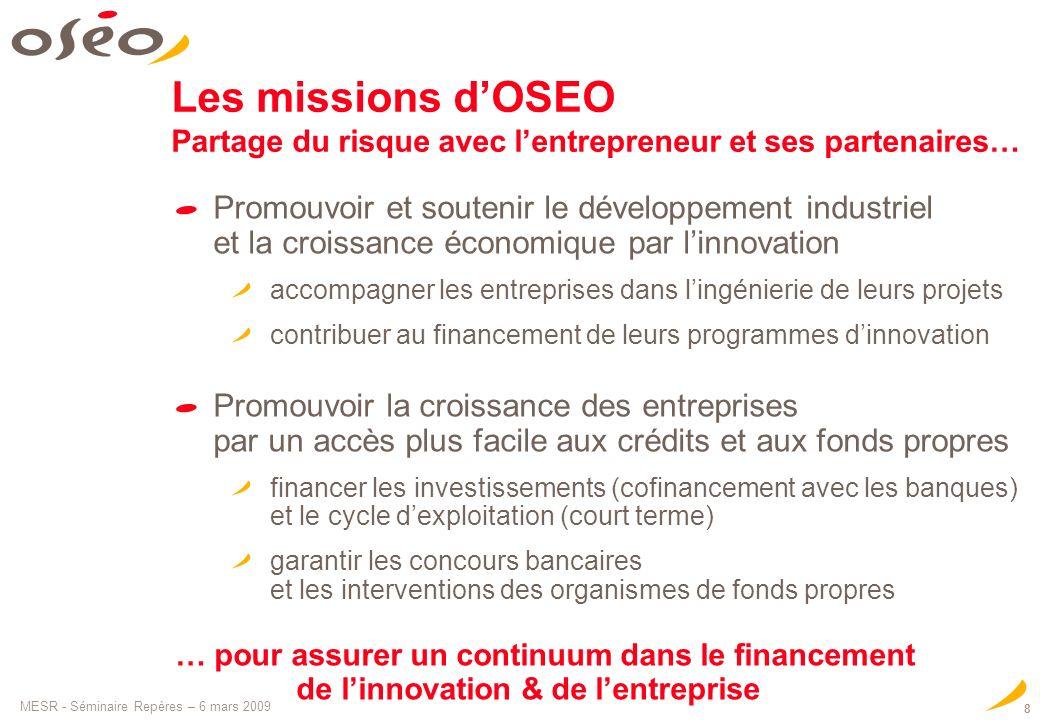 MESR - Séminaire Repères – 6 mars 2009 8 Les missions dOSEO Partage du risque avec lentrepreneur et ses partenaires… Promouvoir et soutenir le dévelop