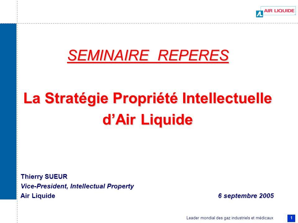 Leader mondial des gaz industriels et médicaux 1 SEMINAIRE REPERES La Stratégie Propriété Intellectuelle dAir Liquide Thierry SUEUR Vice-President, In