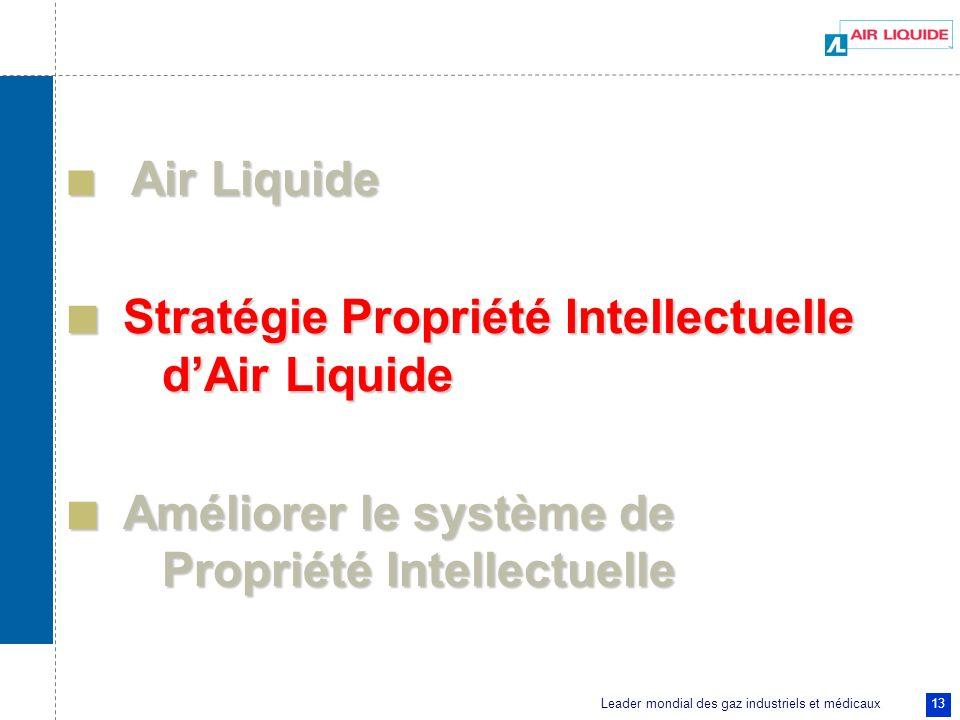 Leader mondial des gaz industriels et médicaux 13 Air Liquide Air Liquide Stratégie Propriété Intellectuelle dAir Liquide Stratégie Propriété Intellec